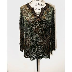 Chico's velvet Floral Blouse Embroidered